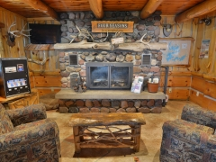 custom fireplace in main lodge bar